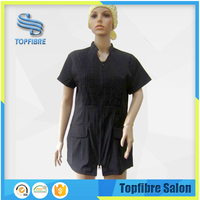 Stretched Nylon/Polyester Blended Fabric Plain Women Tunic Tops