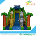 Yuhong new design cheap two zebras inflatable slide for kids