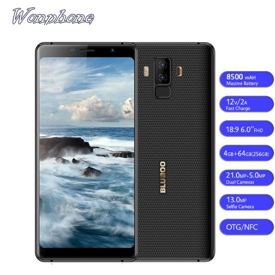 BLUBOO S3 8500mAh 6.0'' FHD+ Smartphone 4GB RAM 64GB ROM MTK6750T Octa Core 21MP+5MP Dual Rear Cameras NFC OTG 4G Mobile <strong>Phone</strong>