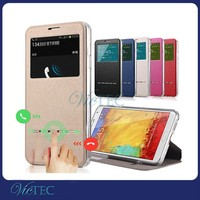 For samsung galaxy note 3 high quality smart view window pu leather mobiel phone flip cover case