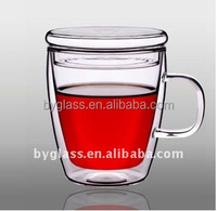 Mouth Blown Handmade Coffee Glass Mugs,Glass Cup Double Wall,Durable Hand Made Glass Cup