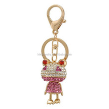 Crystal Frog Zinc Alloy Key Chain , Cartoon Characters Key Chains , Lovely Live Animal Keychain