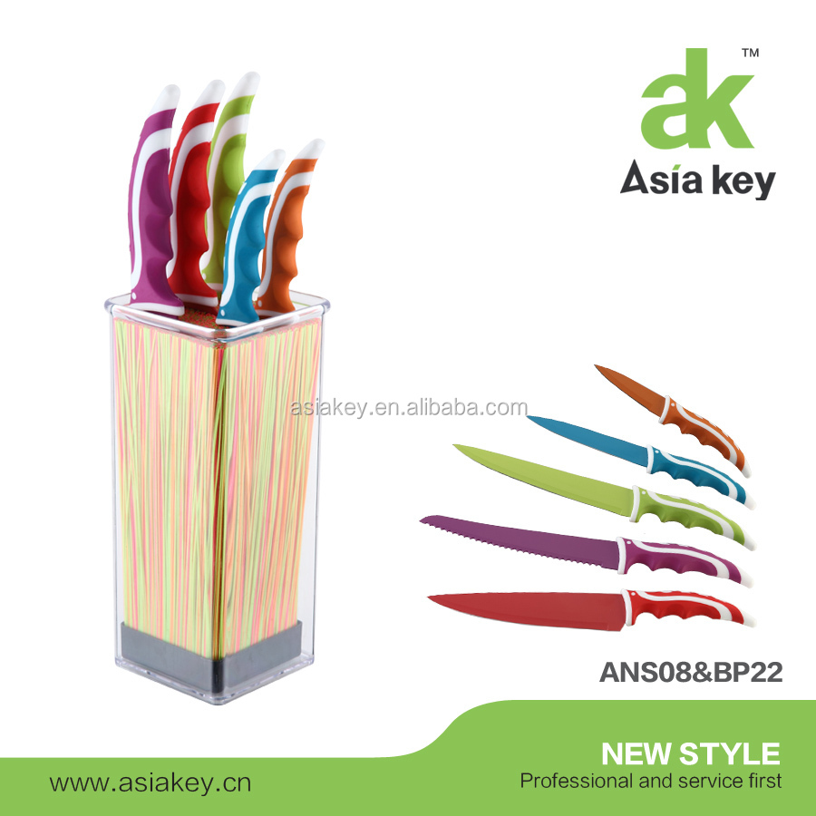 6 pc S.S Knife Set with Anti Bacterial Non Stick Coating, Multicolored