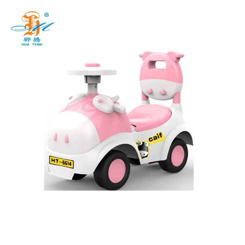 New arrival cartoon calf children ride walk car with airbag steering wheel