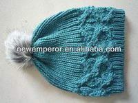acrylic bonnet with fur pompom
