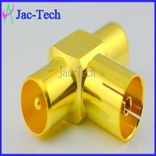Brass material TV female adapter to TV double male cable coaxial connector