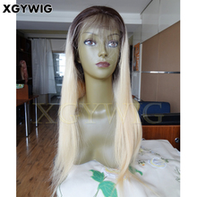 Custom made 100% virgin Brazilian Human Hair T4/613# dark roots ombre two tone platinum blonde full lace glueless silk top wig