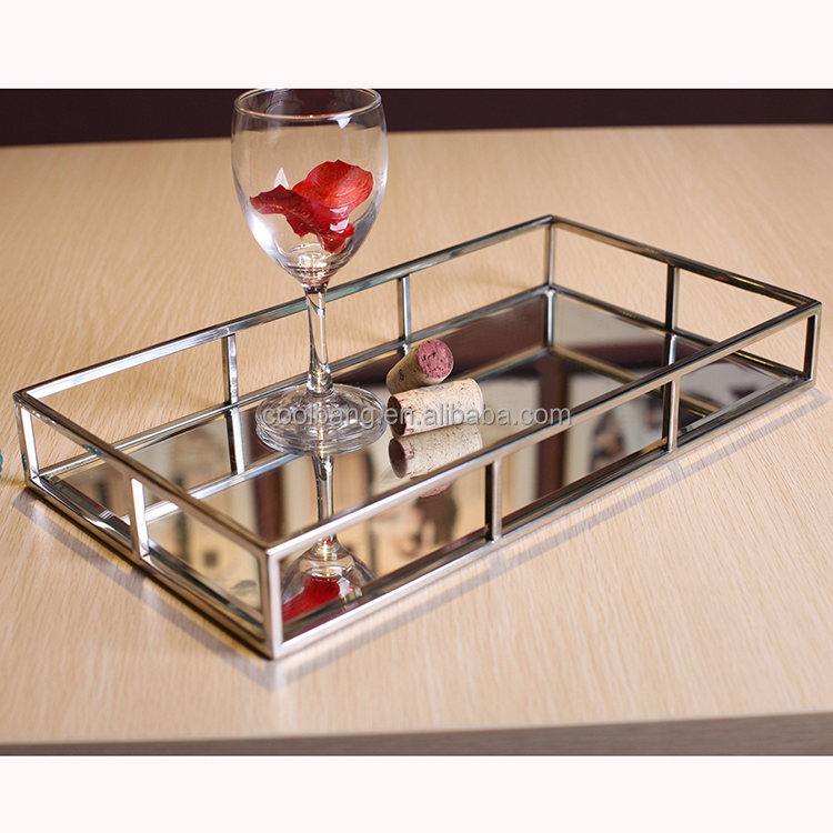 wholesale hotel metal serving tray stainless steel frame mirror tray