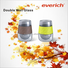 350ml High quality double wall glass beer mug with silicone sleeve