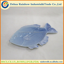 Handmade blue ceramic decorative plates porcelain fish plates