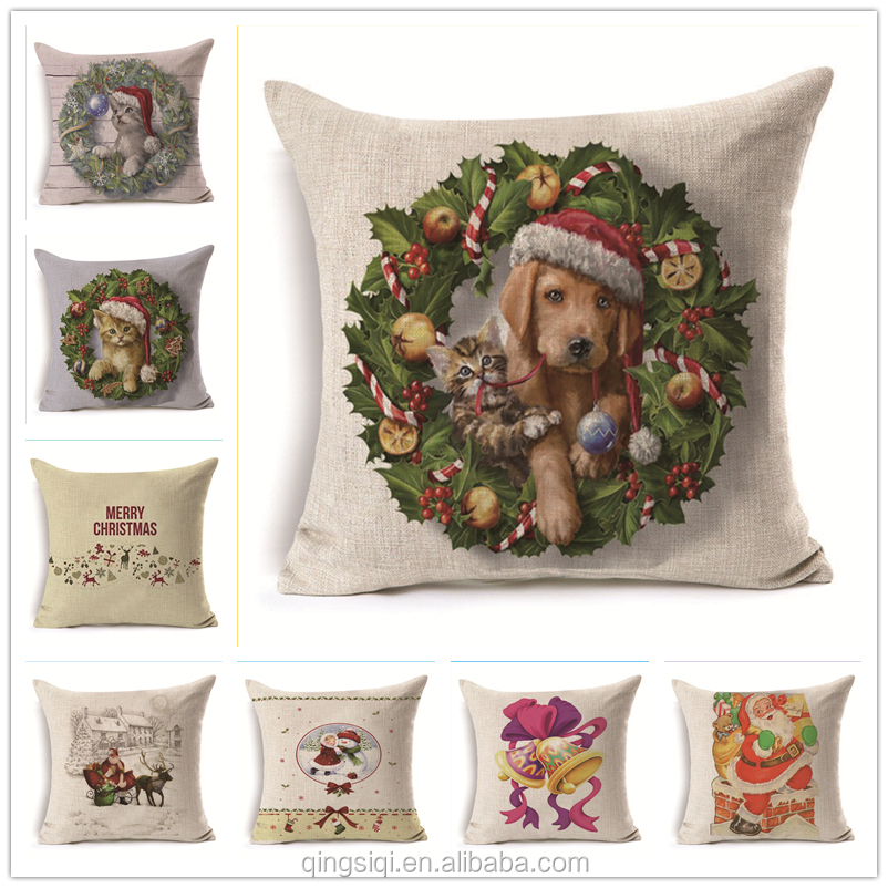 PEIYUAN Christmas Day Pet Cat Dog Bell Cotton Linen Woven Square Cushion Cover Pillowcase Pillow Covers for Car Char Seat Bed