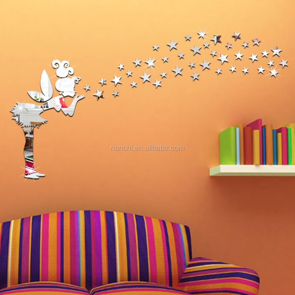 gadis kecil meniup bintang cermin wall stiker anak bedroom p