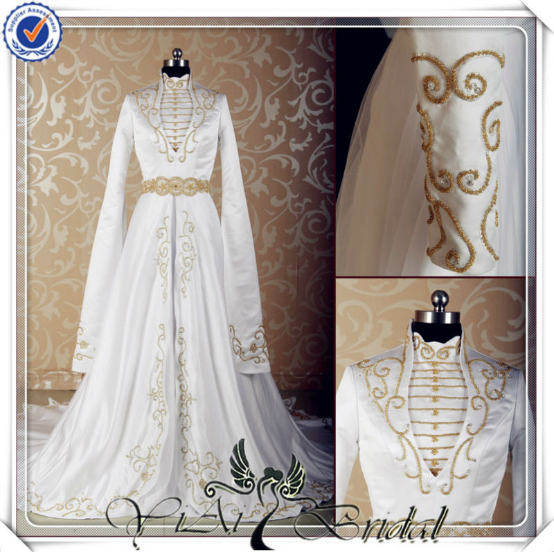 JJ3521 Gold Embroidery muslim wedding dress muslim bridal wedding dress arabic wedding dress