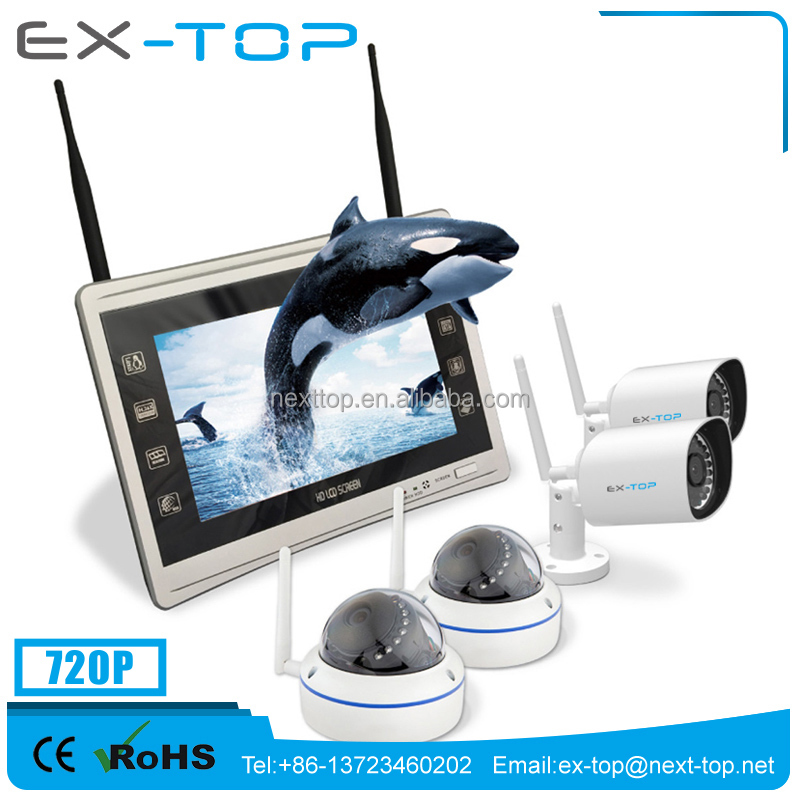 Latest CCTV Home Security systems With 11 Inch LCD Nvr ,2 IR Bullet Camera and 2 Vandal-Proof Dome Camera