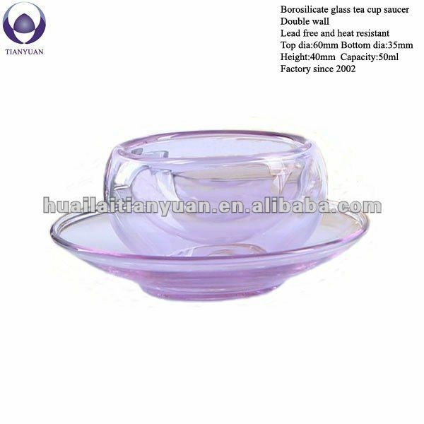 color double wall borosilicate glass tea cup saucer