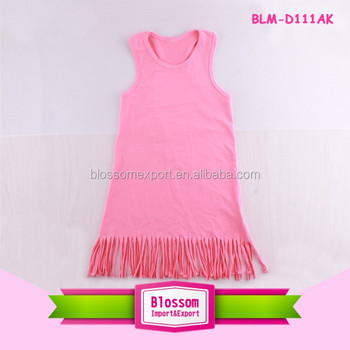 2017 Baby Girl Party Dress Children Frocks Designs Coral Boutique Kids Tassel Fringe Trim Dress 1-6 Years Old Baby Girl Dress
