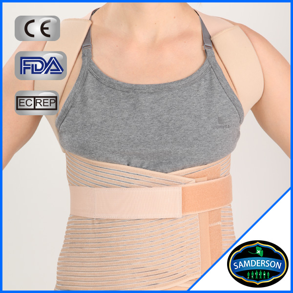 po-601 medical grade deluxe full back posture corrective brace/back support posture correction with metal stays