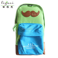 customizable hot selling cartoon moustache high quality cotton canvas backpack school bag with shoulder strap and back for kids