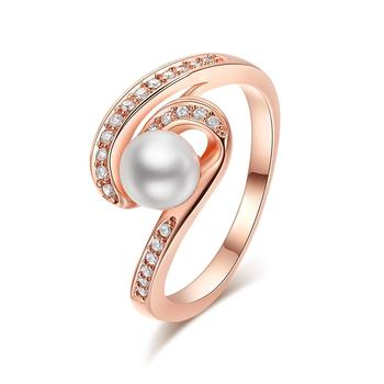 Rose Gold Plated Simple Design Cross Cultural Pearl Ring