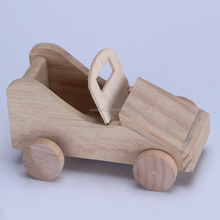 Small unfinished old wooden car model for children ,kids toy-handmade car model