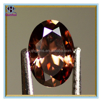 fancy chocolate oval shaped chocolate cubic zirconia stone