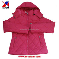 Lady padded jacket red with hat 2015 new style