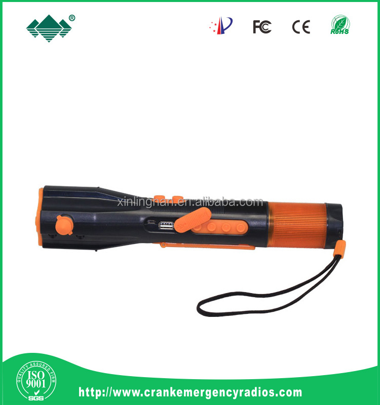Multifunctional Car Use Waterproof Flashlight; Crank Dynamo Flashlight Hammer FM/ AM Radio