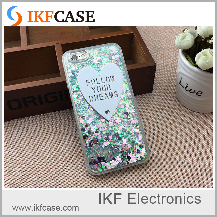 Hot new products for 2016 shockproof custom design glitter stars liquid phone cases for iphone 6S Plus