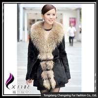 CX-G-A-29 2016 Winter Women Elegant Fashion Rex Rabbit Fur Coat