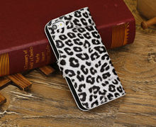 Leopard grain Stand Wallet Book Leather Case Cover for iPhone 5C