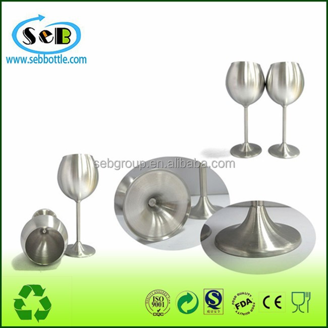 High quality stainless steel metal wine cups goblet