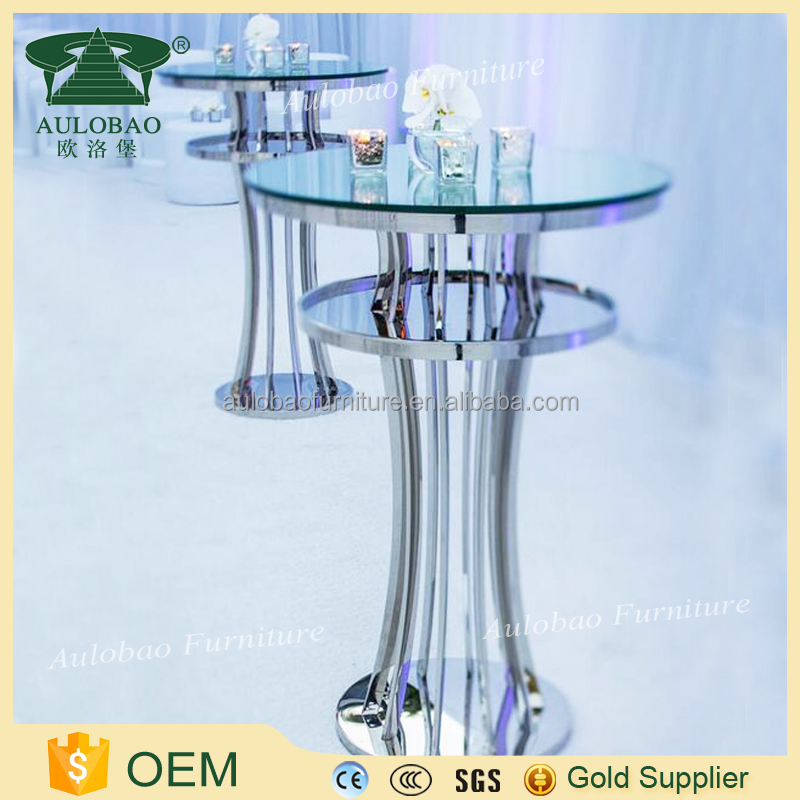 New brand stainless steel glass top metal wine table
