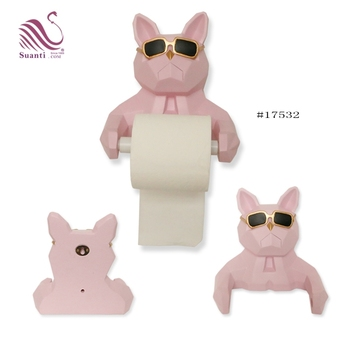 Cute Animal Cartoon Dog Shape Decorative Wall Hanger Toilet Paper Holder Resin Tissue Box