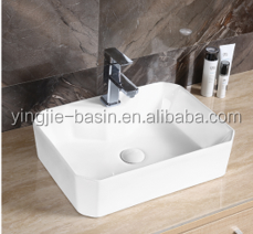 YJ9465 American white color marble counter top wash basin