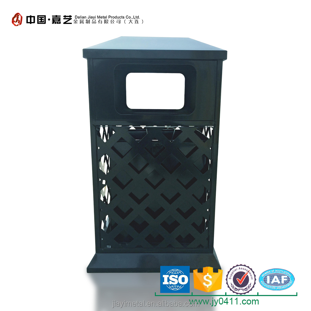 Retro 30L outdoor fashion cast iron dustbin with astray