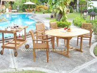Teak Garden Furniture - Outdoor Furniture - Extending Table Patio Umbrella