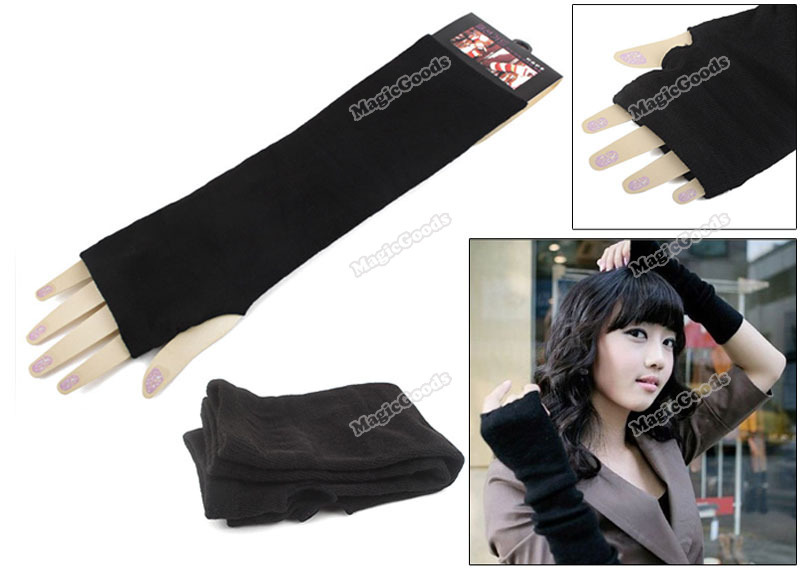 [High Quality][Brand New] New Arm Warmers Long Gloves Fingerless Mittens Funk Black [Hot]
