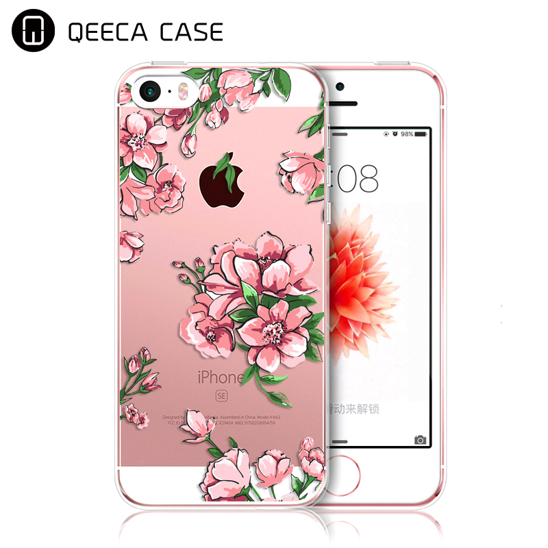 Hard plastic phone cases printed custom for iphone 5 5S SE case transparent clear design