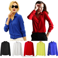 5 Colors Work Wear 2015 Women Shirt Chiffon Blusas Femininas Tops Elegant Ladies Formal Office Blouse Plus Size XXL