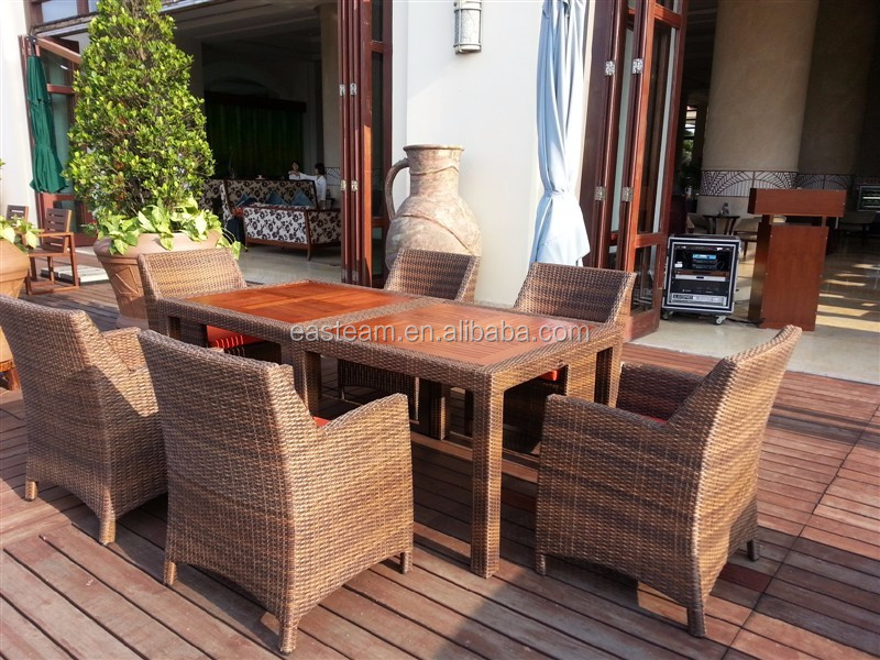Outdoor Modern Teak Wood Table Top Rattan Dining Set