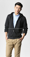 Spring men's sports Hoodie Zip Sweater fleece solid of pure color
