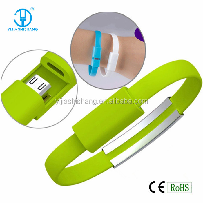 Mobile Phone USB Cable Bracelet Wrist Band Charger USB Charging Charge Data Sync Cable 6 Colors