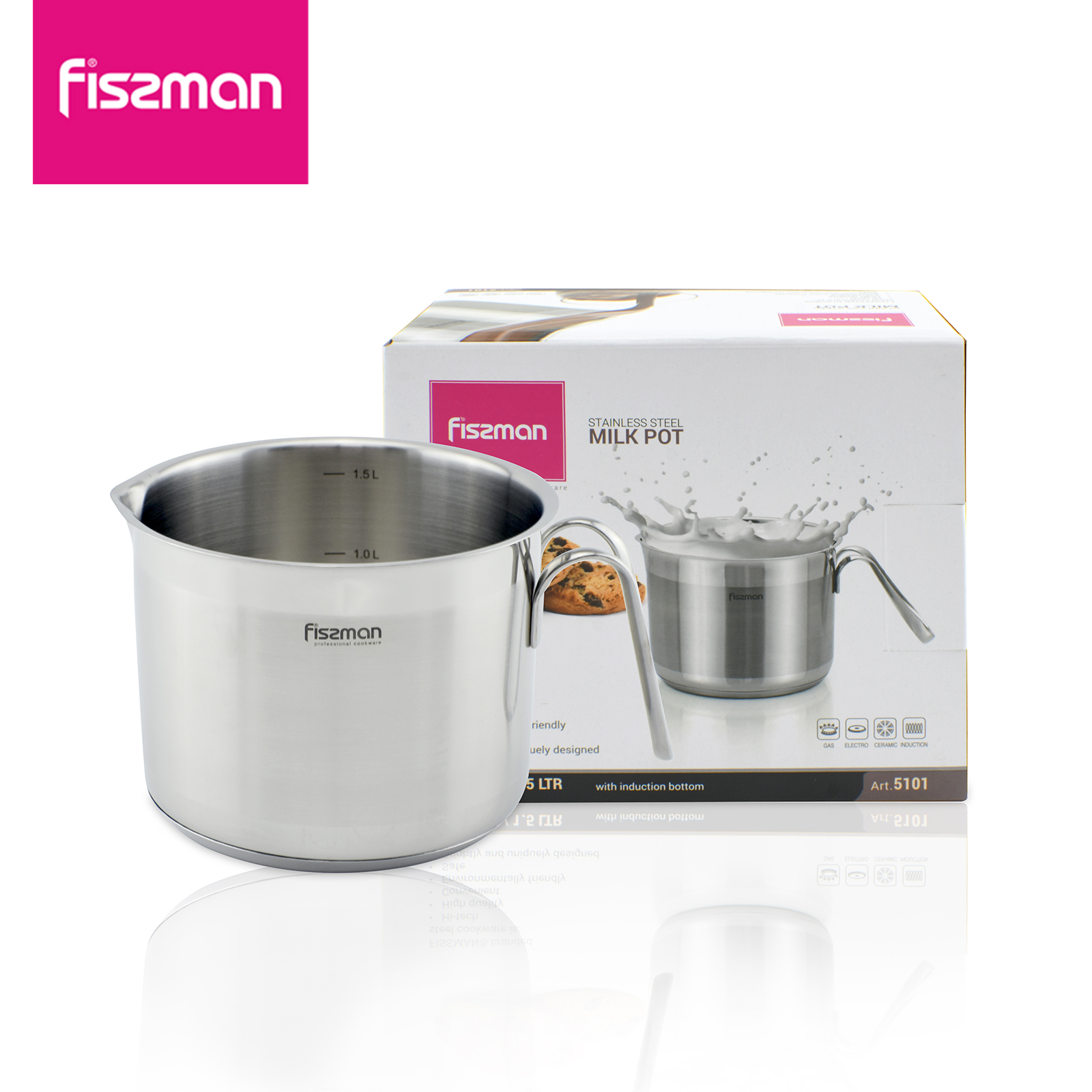 Fissman 1.5l practical milk pot, mini soup pot butter hot sauce pot  noodle soup pot,Kitchen cooking pot