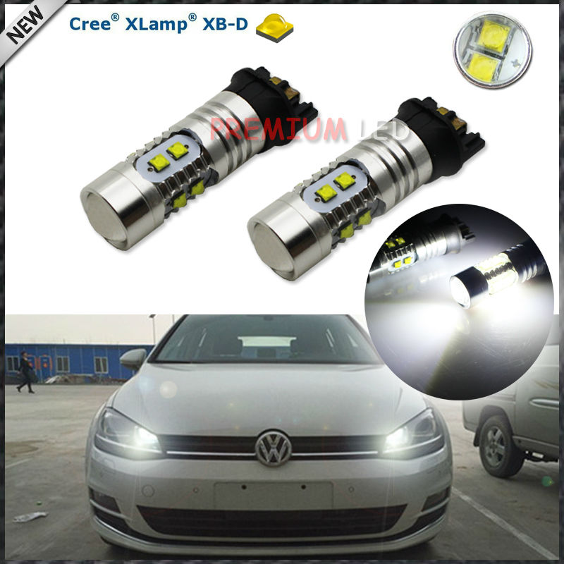 Xenon White 50W CRE'E PW24W PWY24W LED Bulbs For Audi VW MK7 Golf CC Front Turn Signal Lights DRL