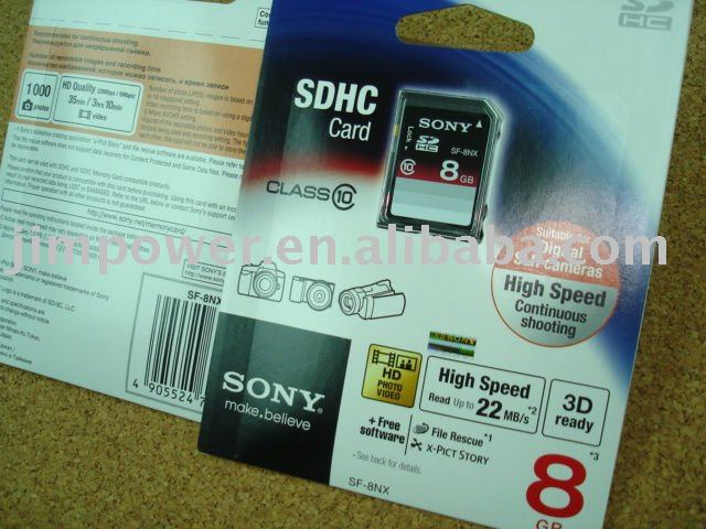 SONY SDHC SD 8GB CLASS 10 High Speed Memory Card