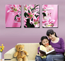 Bright Fabric Lily Flower Wall Art 3d Canvas Painting for Indoor Wall Decoration