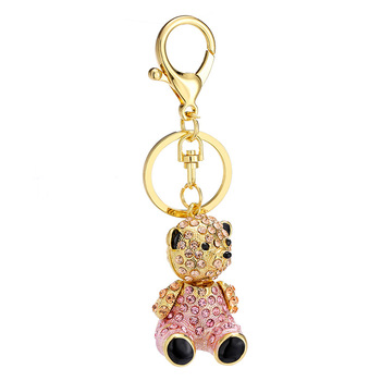 The best-selling zinc alloy crystal diamond cartoon cute rhinestone bear keychain for car bag