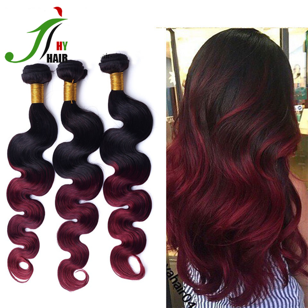 Burgundy Brazilian Virgin Hair Weave Brazilian Body Wave 99j Ombre Brazilian Hair Weave Bundle Red Ombre Human Hair Weave