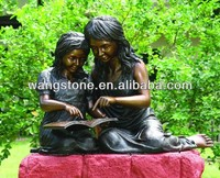 Antique imitation sister brass figure statue garden decor