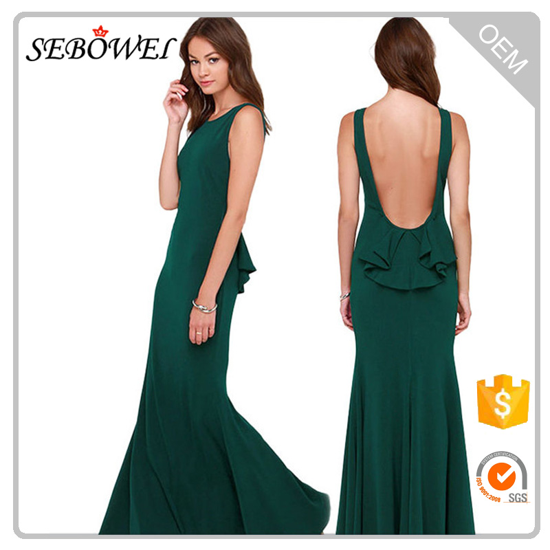 Olive Sleeveless Backless Women Long Maxi Dress